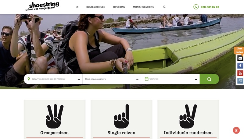 website shoestring single reizen