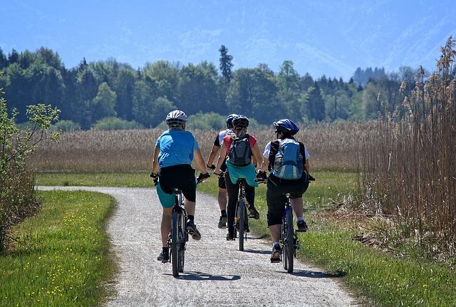 groep op fietsvakantie in de natuur